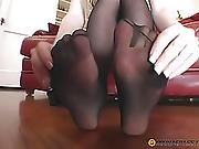Girl On Her Feet Dresses Stockings