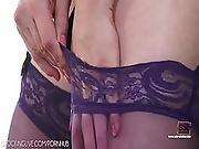 Red Head In Purple Classy Stockings Having Naughty Fun