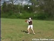 Innocent 18yo Teen Playing Baseball Outdoors