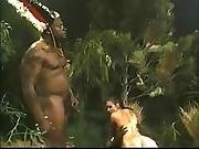 anal,  brunette,  busty,  facial,  fucking,  interracial,  jungle,  threesome