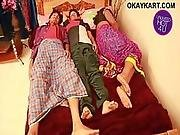 3 In One Indian House Wife Sharing Bed With Her Husband Friend