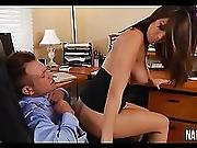 Nice Tits And Pussy Brunette Fucked On Office Desk Holly Michaels