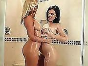 Two Amazing Lesbians Keisha Grey And Tasha Reign Under Shower Demolishing Assholes