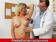 blonde,  boob,  busty,  chubby,  doctor,  european,  gyno,  hospital,  natural,  plumper,  speculum,  spit,  toys,  vibrator