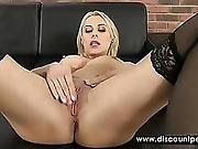 Tattooed Blonde In Stockings Fingers Her Ass Hole