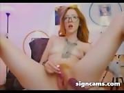 Nerd Teen Loves Her Vibrating Toy On Webcam