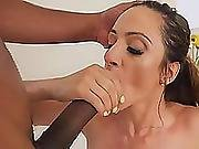Hot And Busty Brunette Loves To Suck Black And White Combination