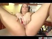 Stacked sexy brunette kitchen fingering