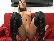 big tit,  blonde,  dildo,  huge dildo,  military,  solo,  toys,  uniform
