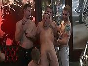 Muscled Hunk Forced To Suck Cocks At Orgy