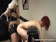 Lesbian Mistress Bends Her Slave Girl Over For Deep Strap On Fuck