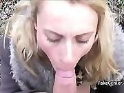 Blonde Babe Sucking Cock Outdoors