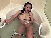 Sexy Brunette Teen Taking Shower