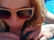 Split Tongue Outdoor Blow Job In Pool