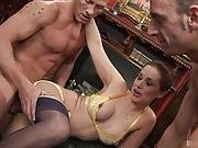 Pretty Brunette In Lingerie, Anaya Leon, Gets Her Shaved Pussy Treated To A