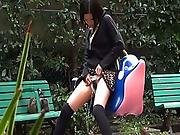Three Japanese Cuties Pissing In Public Places