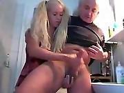 Blonde Milks Old Mans Cock