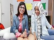 Mia Khalifa Busty Arab Pornstar Trains Her Muslim Friend How To Suck Cock