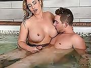Milf Mom Eva  Gives Van A Hot Tub Handjob