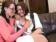 Horny Milf And Lusty Brunette Rub Their Wet Pussies Together