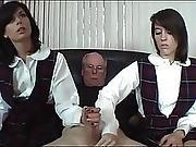 Schoolgirls Stroke Old Man Cock