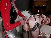 Mistress In Latex Anal Toys Redhead