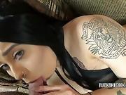 Mia Kay Sucks A Stiff Dick And Gets A Facial