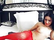 Gorgeous Shemale Wanks In Her Sexy Red Lingerie
