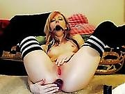 Concupiscent Camgirl Puts A Ball Gag In Her Throat And Bonks Herself With Her Sex Toys
