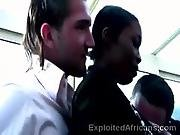 african,  afro,  amateur,  beautiful,  black,  dark,  ebony,  horny,  interracial,  public,  uniform,  waitress,  white