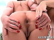 Lesbo Blonde Gets Ass Hole Licked With Lust By The Pool