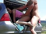 Petite Brunette Teen Hitchhiker Blowjob In Car