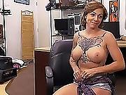 Brunette Harlow Harrison Shows Her Tits With Her Amazing Tats And Gets Pussy Fucked