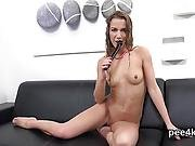 Flawless Girl Is Pissing And Pleasuring Smooth Kitty