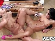 Slutty Lesbians Pissing And Scissoring On Floor