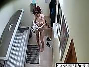 Punk Girl Secretly Masturbating In Solarium Tube