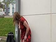 Longhaired Redhead Jannas Public Masturbation And Outdoor Milf Flashing The Stre