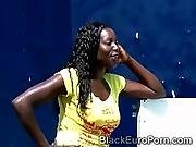 African Hottie Begs On Her Knees For Some Hot Urine