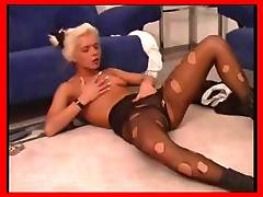 Blondes In Pantyhose Masturbate, Do Foot Jobs And Get Nailed