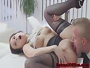 Gorgeous Secretary Facialized By Boss