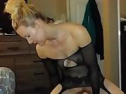Hot Real Blond Mormon Amateur Wife Fucks Large Dildo In Lingerie