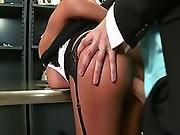 ass ,  babe,  banging,  big ass,  big tit,  brunette,  hardcore,  stocking,  thief