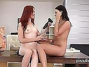 Kissable Girl Is Geeting Peed On And Squirts Wet Slit