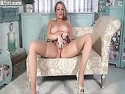 Pretty All Natural Blonde Penny Lee Shows It All Off Teasing In Tan Nylons