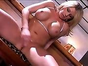 Stunning Blonde Surrounding Large Boobs Jerking All Over Playthings