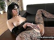 Honey In Black Pantyhose Squirts On Table