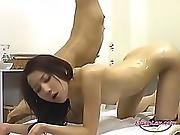 asian,  doggystyle,  fingering,  lesbian,  lick,  lotion,  small tits,  squirt