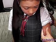 Busty Japanese Schoolgirl Mouth Fucked