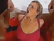 Busty Euro Blonde Gets Golden Shower And Banged