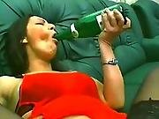 Bottle And Cucumber On Both Of Her Holes